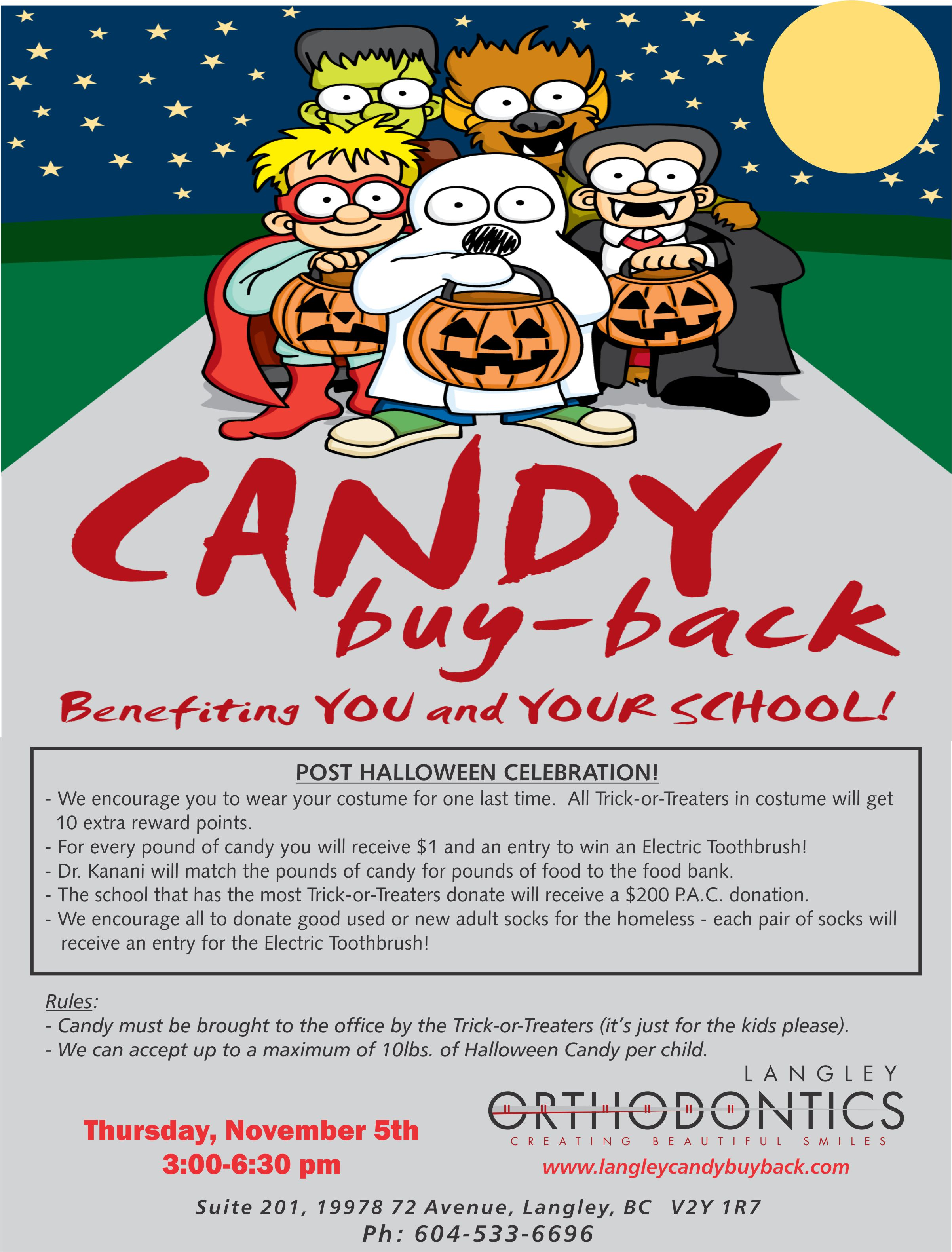 Dr Aly Kanani Langley Halloween Candy Buy Back for Charity